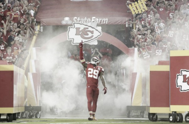 Eric Berry's enters the field to face against the Denver Broncos last season. (Source: Charlie Riedel/Associated Press)