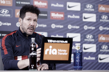 Simeone en la rueda de prensa previa a la jornada de liga | Foto: Atlético de Madrid
