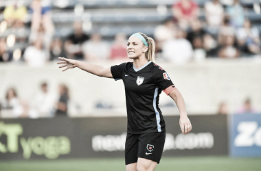 Julie Ertz with the Chicago Red Stars at Toyota Park in Bridgeview, IL on August 10, 2018 | Photo: Chicago Red Stars