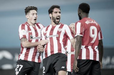 Raúl García celebra uno de los tantos que anotó en la noche de hoy | Twitter Oficial del Athletic Club de Bilbao