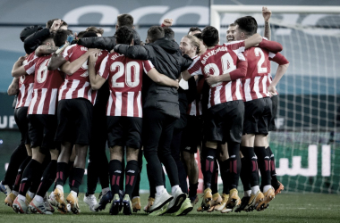 Los jugadores del Athletic celebrando la victoria Fuente:  Athletic Club