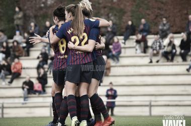 Imagen de archivo de las jugadoras del FC Barcelona celebrando un gol. FOTO: Noelia Déniz
