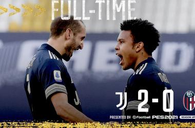La Juventus fortunata e sprecona: 2-0 al Bologna