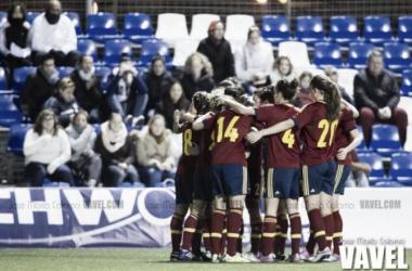 Las jugadoras españolas celebrando un gol en otro partido | Foto: Jose María Colomo