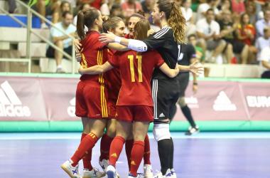 España celebra uno de los goles en Murcia ante Italia. | Foto: UEFA