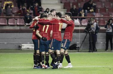 La selección celebra uno de los goles ante Dinamarca/ Foto: EFE