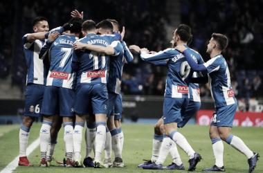 Los jugadores del Espanyol celebrando el gol de Borja Iglesias | Foto: RCD Espanyol