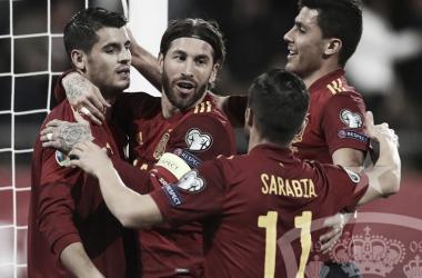 Los jugadores de la Selección Española celebran un gol / @SeFutbol (Twitter)