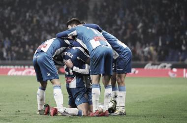 Los jugadores pericos celebrando la victoria / Foto: RCD Espanyol