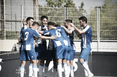Imagen de archivo. RCD Espanyol B celebrando un tanto | Foto: Noelia Déniz - VAVEL