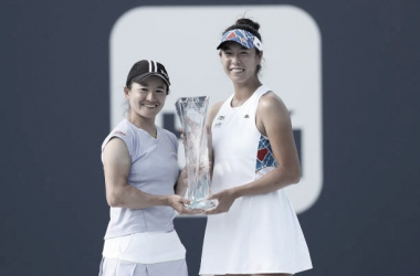 "<p style=""margin-bottom: 0cm; color: rgb(0, 0, 0); font-size: medium; font-style: normal; text-align: start;""><font style=""font-size: 15pt;""><b>Las campeonas Shuko Aoyama y Ena Shibahara Foto Getty/WTA<br></b></font></p>"
