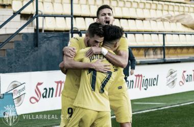 """<p class=""""MsoNormal"""">Los jugadores del filial celebran el gol / Foto: Villarreal C.F<o:p></o:p></p>"""