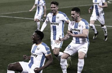 Omeruo celebrando su gol frente al Almería | Foto: CD Leganés