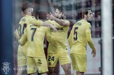 """<p class=""""MsoNormal"""">Los jugadores celebran el gol / Foto: Villarreal C.F&nbsp;<o:p></o:p></p>"""