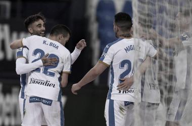 Los jugadores del Leganés celebrando el segundo gol frente al Albacete | Foto: CD Leganés