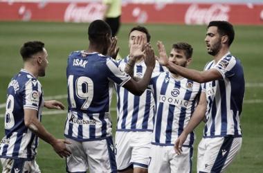 Celebración de uno de los cuatro goles en el encuentro de hoy. Fuente: Real Sociedad