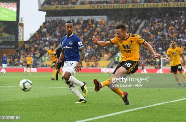 Diogo Jota of Wolverhampton Wanderers during the Premier League match between Wolverhampton Wanderers and Everton FC at Molineux on August 11, 2018 in Wolverhampton, United Kingdom. (Photo by Sam Bagnall - AMA/Getty Images)