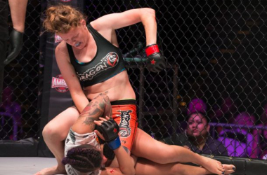 Tonya Evinger stops the run of another undefeated fighter at Invicta FC 14. / Scott Hirano, Invicta FC