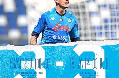 Il Napoli fa e disfa in extremis: finisce 3-3 contro il Sassuolo