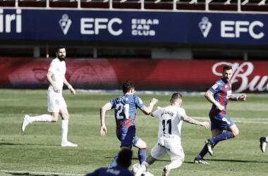 Imagen del encuentro de la SD Huesca frente a la SD Eibar en el Estadio de Ipurua (1-1)/ Twitter: SD Eibar