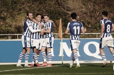 Los jugadores del Sanse celebran un gol en el pasado partido. Fuente: Real Sociedad