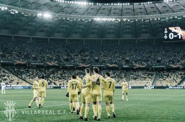 "<p class=""MsoNormal"">Los jugadores celebran el gol de Pau / Foto: Villarreal C.F<o:p></o:p></p>"