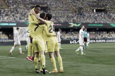 """<p class=""""MsoNormal"""">Los jugadores celebran el gol // Foto: UEFA Europa League<o:p></o:p></p>"""