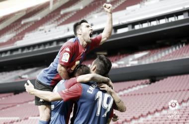 El Extremadura UD celebrando un gol en el Wanda Metropolitano | Foto: LaLiga