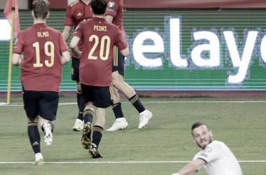Ferran Torres celebrando el segundo gol ante Kosovo en Sevilla | Fotografía: UEFA