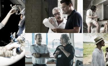 Los cinco directores nominados durante el rodaje de sus respectivos filmes. (Foto (sin efecto): examiner).