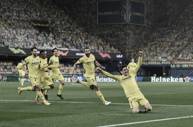 """<p class=""""MsoNormal"""">Los jugadores celebran el gol de Gerard // Foto: Europa League&nbsp;<o:p></o:p></p>"""