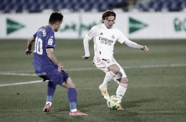 Modric en una jugada en el Coliseum | Foto: Real Madrid CF