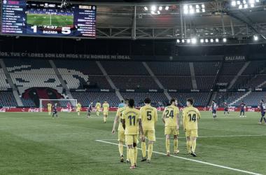 """<p class=""""MsoNormal"""">Los jugadores del Villarreal celebran el gol // Foto: Villarreal C.F<o:p></o:p></p>"""