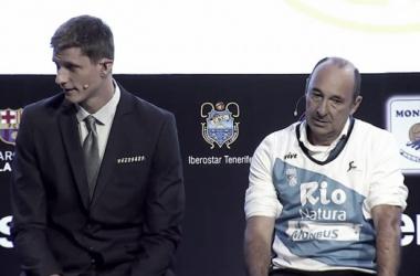 Pustovyi y Manquiña durante la presentación | Foto: Liga Endesa