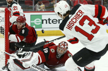 Hischier scores while Keller crashes the net (Photo: The Associated Press)