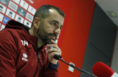 Diego Martínez durante la rueda de prensa previa al partido del Granada CF frente al Cádiz.<div>Foto: Antonio L Juárez</div>