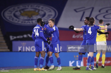 LEICESTER, ENGLAND - FEBRUARY 10: Kelechi Iheanacho of Leicester City celebrates with Youri Tielemans after scoring his team's first goal during The Emirates FA Cup Fifth Round match between Leicester City and Brighton And Hove Albion at The King Power Stadium on February 10, 2021 in Leicester, England. Sporting stadiums around the UK remain under strict restrictions due to the Coronavirus Pandemic as Government social distancing laws prohibit fans inside venues resulting in games being played behind closed doors. (Photo by Alex Pantling/Getty Images)