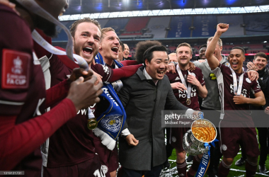 Khun Top, Chairman of Leicester City celebrates with the Emirates FA Cup trophy following The Emirates FA Cup Final match between Chelsea and Leicester City at Wembley Stadium on May 15, 2021, in London, England. (Photo by Michael Regan - The FA/The FA via Getty Images)