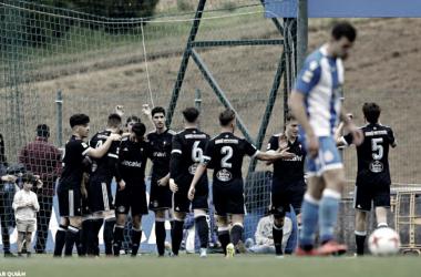 Los pupilos de Rubén Alvés celebrando uno de los goles conseguidos esta jornada, en el mini derbi, en Abegondo, ante el filial del Deportivo de la Coruña, el Fabril. | Foto: RC Celta