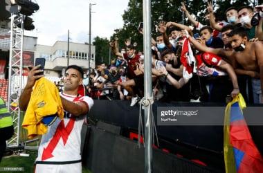 <div>Presentation Of Radamel Falcao As A New Player Of Rayo Vallecano</div><div><br></div><div>Official presentation of Radamel Falcao as a new player of Rayo Vallecano at Estadio de Vallecas in Madrid, Spain. (Photo by DAX Images/NurPhoto via Getty Images)</div>