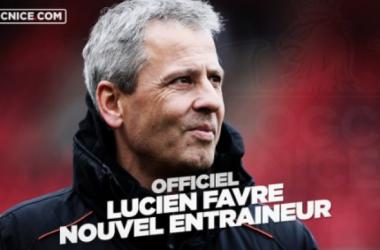 Lucien Favre prend place sur le banc des Aiglons (Twitter @ogcnice)