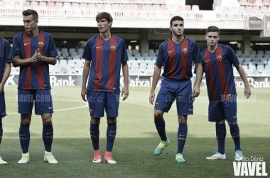 Juan Miranda, Abel Ruiz y Sergio Gómez con el FCB Juvenil. Foto: Noelia Déniz, VAVEL