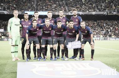 Once inicial del FC Barcelona antes del partido de Champions contra el Inter de Milán | Foto: VAVEL