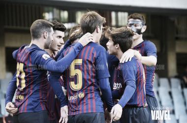 Imagen de archivo. El Barça B celebrando un tanto en el Miniestadi | Foto: Noelia Déniz - VAVEL