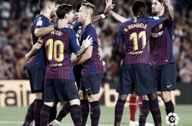 Los jugadores del F.C. Barcelona celebrando un tanto frente al GIrona | Foto: LaLiga Santander