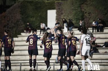 El FC Barcelona celebrando un tanto | Foto: Noelia Déniz - VAVEL