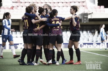 El FC Barcelona celebrando un gol ante el Espanyol en el Mini | Foto: Noelia Déniz - VAVEL