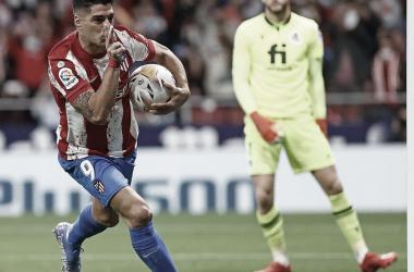 Luis Suárez celebrando su segundo gol ante la Real Sociedad / Foto: Atlético de Madrid