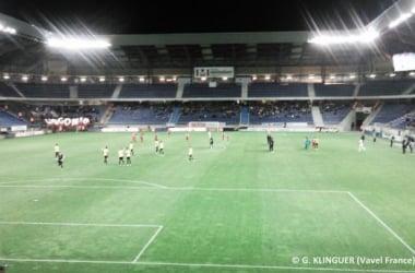FC Sochaux - Dijon FCO (0-1)Les joueurs sur le terrain quelques secondes avant le coup d'envoi