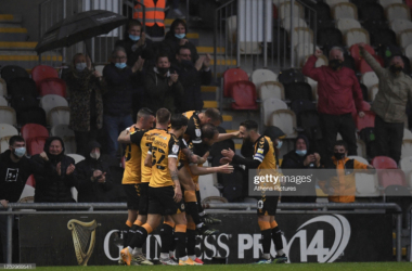 Above: Newport County celebrate their incredible opener (Source: Athena Pictures- Getty Images)
